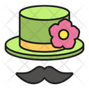 Hat Moustache Flower Icon