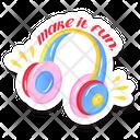 Music Equipment Headphones Headphones Sticker Icon