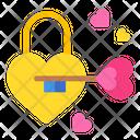 Heart Padlock Key Icon