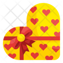 Heart Box Shape Ribbon Icon
