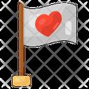 Flagpole Heart Flag Love Flag Icon