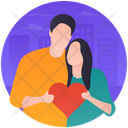 Heart Giving Lovers In Love Icon