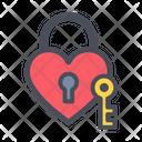 Heart Lock Heart Key Lock And Key Icon