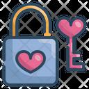 Heart Lock Heart Key Love Security Icon
