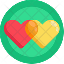 Red Heart Yellow Heart Romantic Icon