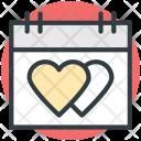 Hearts Calendar Wedding Icon