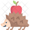 Hedgehog With Apple Porcupine Animal Icon