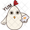 Hen With Omelet Icon