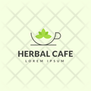 Herbal Cafe Hot Coffee Cafe Logomark Icon