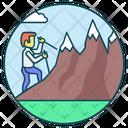 Mountain Climbing Exploring Adventure Icon