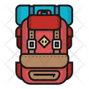 Hiking Backpack with Sleeping Bag Icon