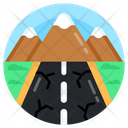 Snowy Mountain Hills Station Mountains Icon