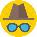 Hipster Sunglasses Hat Icon
