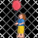 Holding Balloon Outdoor Fun Park Amusement Icon