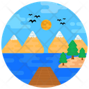 Landscape Hill Station Holiday Beach Icon