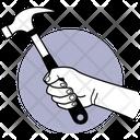 Holiding Hammer Hammer Hand Icon