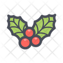 Holly Berry Christmas Plant Leaf Icon