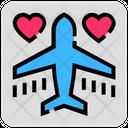Valentine Day Airplane Honeymoon Icon
