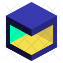Horizontal Subtract Geometric Cube Icon