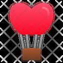 Hot Balloon Flying Heart Icon