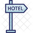Hotel Signpost Hotel Guidepost Direction Post Icon