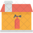 House On Fire Fire Extinguisher In Home Danger Icon