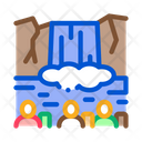 Human Visit Waterfall Icon