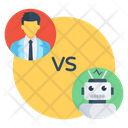 Human Vs Robot Artificial Intelligence Ai Icon