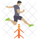 Hurdling Man Jumping Obstacle Game Icon