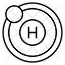 Hydrogen Atom Science Symbol Atomic Model Icon