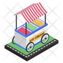 Ice Cream Cart Ice Cream Stall Street Vending Icon