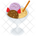 Ice Cream Glass Frozen Dessert Ice Cream Scoops Icon