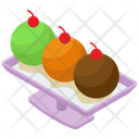 Ice Cream Platter Frozen Dessert Ice Cream Scoops Icon