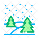 Night Forest Landscape Icon