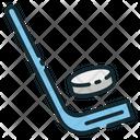 Ice Hockey Puck Stick Icon