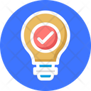Idea Approved Symbol Light Bulb With Check Mark Project Approved Concept Icon
