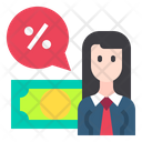 Business Woman Discount Icon