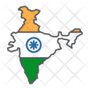 India Contour Geography Icon