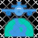 Airplane World Flight Icon