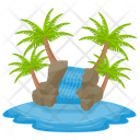 Island Of Waterfall Tropical Island Summer Island Icon