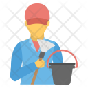 Sweeper Janitor Cleaning Icon