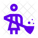 Janitor Cleaning Woman Icon