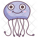 Cute Jellyfish Aquatic Animal Specie Icon