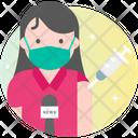 Female Journalist Vaccination Icon