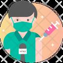 Male Journalist Vaccination Icon