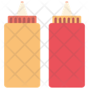 Ketchup And Mustard Squeeze Bottles Icon