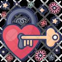 Key Of Heart Heart Lock Heart Padlock Icon