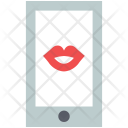 Kissing on mobile screen Icon