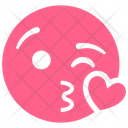 Pink Heart Kiss Icon