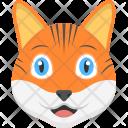 Kitten Face Orange Icon